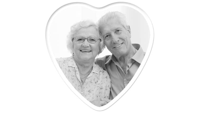 Heart 4 inch x 4 inch, Black & White Photo Ceramic