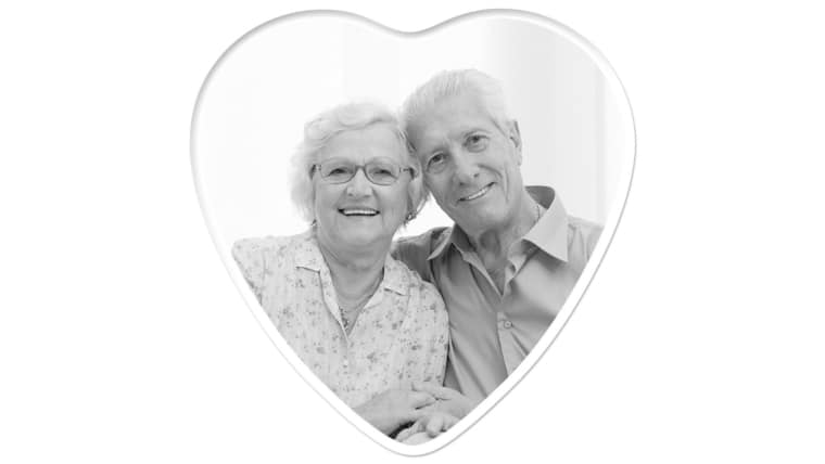 Heart 6 inch x 6 inch, Black & White Photo Ceramic