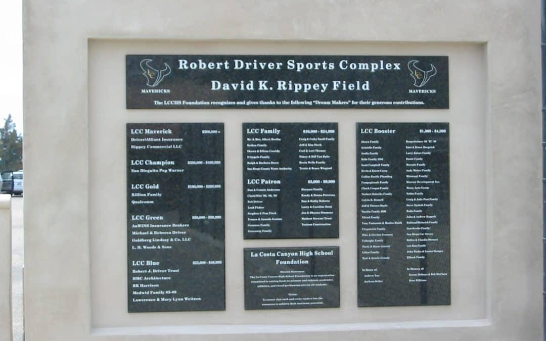La Costa Canyon High School donor wall